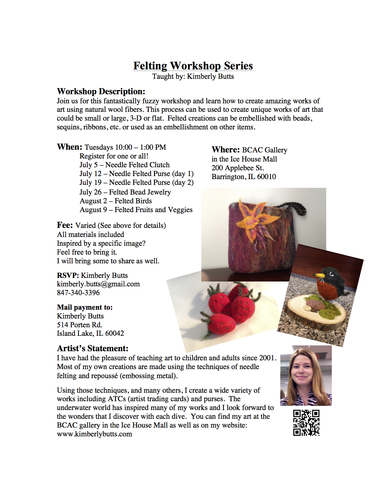 Felting Workshop Series July - Aug