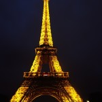 The golden glow of the Eiffel Tower
