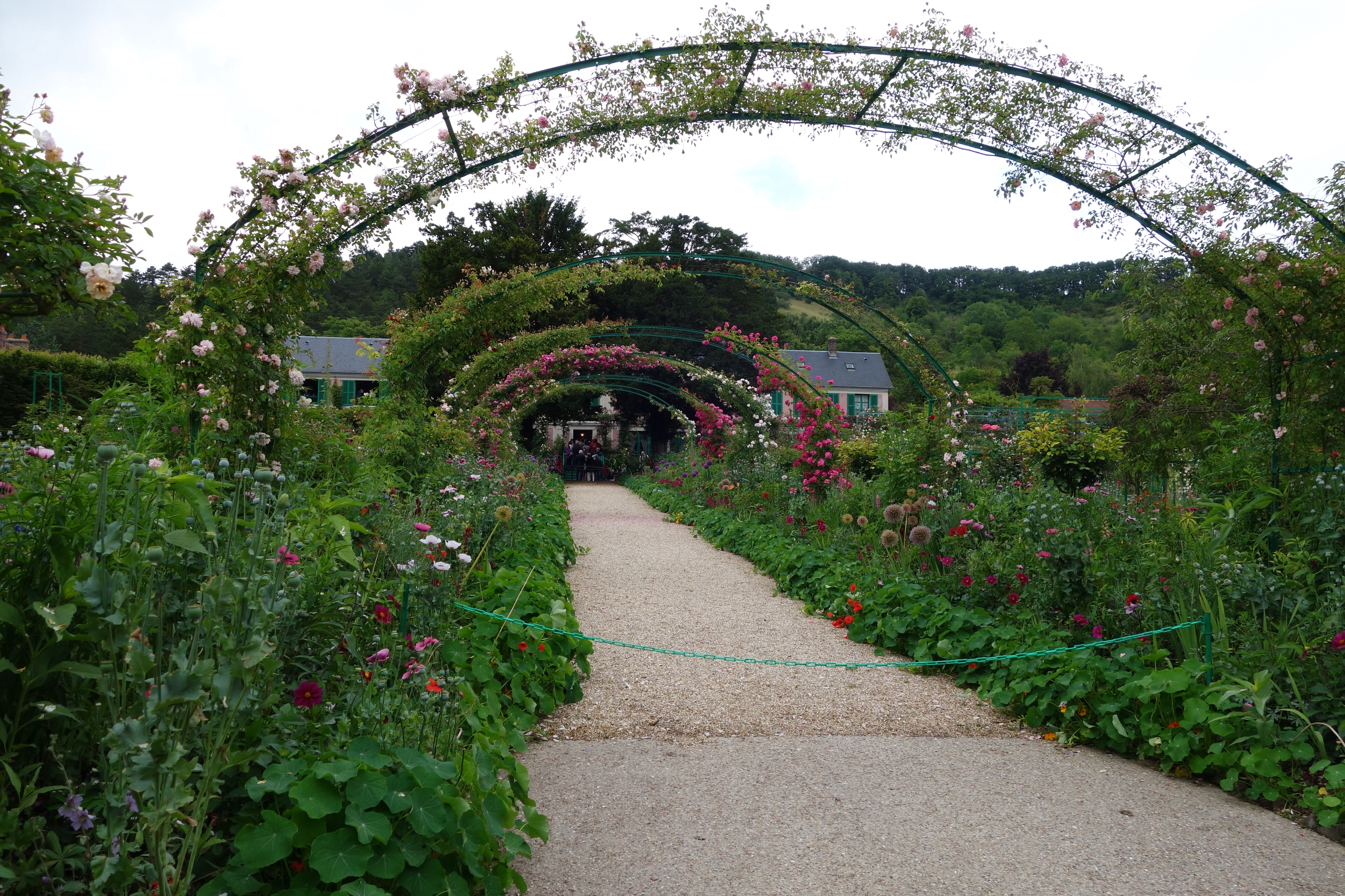 Path of rose arches in Monet's garden